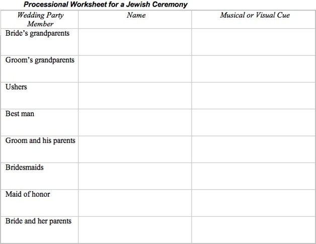 Here is a sample Jewish Ceremony Processional Worksheet