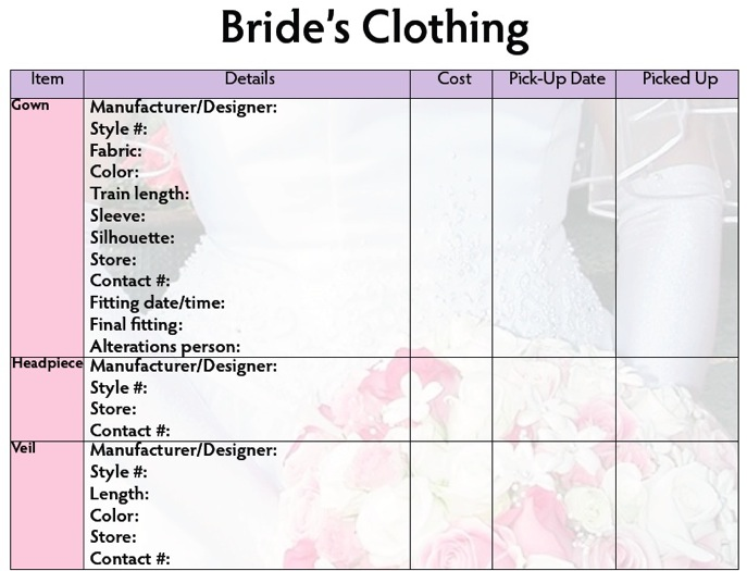 Here Is A Nice Little Worksheet To Help You In Choosing Your Wedding Garments And Accessories
